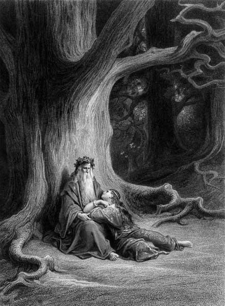 The Enchanter Merlin and the Fairy Vivien in the forest of Broceliande, from ''Vivien'', poem Alfred