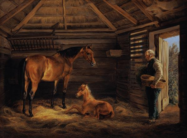 English Mare With Her Foals 1833