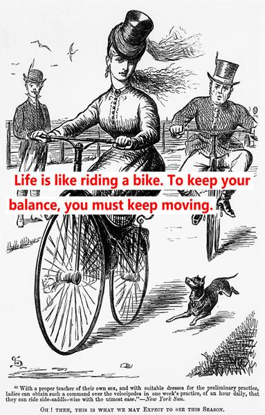 Cartoon of a Lady on a Velocipede mit Worten