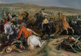 Gustavus II Adolphus, King of Sweden (1595-1632) leading a cavalry charge at the Battle of Lutzen 1632