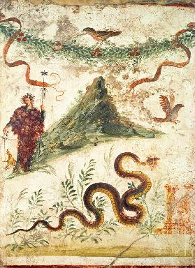 Bacchus Standing Before Vesuvius, from the House of the Centenary, Pompeii,Fourth Style 1st centur