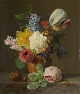 Stillleben mit Blumen und Nüssen. Um 1830   Floral still lifes of the  period are characterised by t