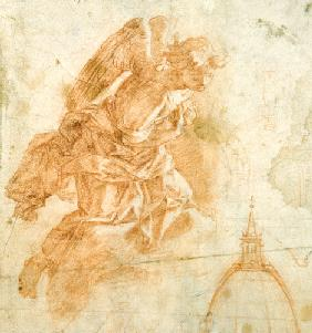 Suspended angel and architectural sketch c.1600
