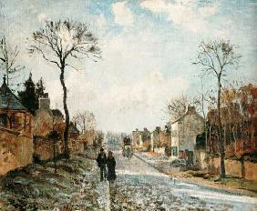 Winterliche Straße in Louvecienne 1872