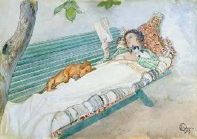 Woman Lying on a Bench 1913  on