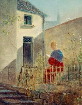 Spitzweg / Woman in Garden / Painting