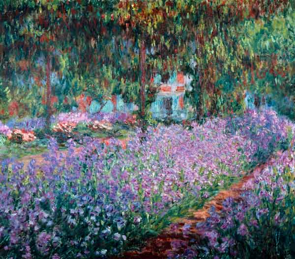 bl hende iris in monets garten claude monet als kunstdruck oder handgemaltes gem lde. Black Bedroom Furniture Sets. Home Design Ideas