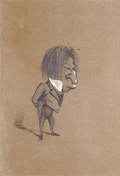 Caricature of Jules Husson (1821-89) 'Champfleury' 1858 cil &