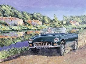 MGB by a French Canal (oil on canvas)