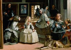Las Meninas, detail of the lower half depicting the family of Philip IV (1605-65) of Spain 1656
