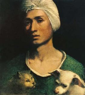 Portrait of a Young Man With a Dog and a Cat