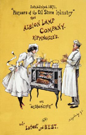Advertisement for 'The Albionette' oven, manufactured by 'The Albion Lamp Company' 1896