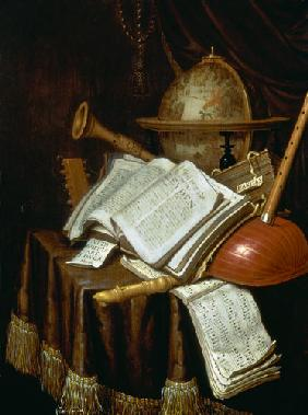 Vanitas with a globe, musical scores and instruments 1692