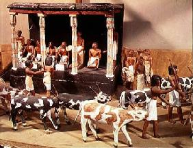 Funerary model of a census of livestock, from the Tomb of Meketre, Thebes, Middle Kingdom c.2000 BC