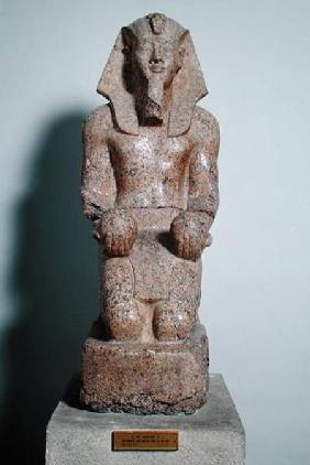 Kneeling statue of Amenhotep II (1427-1392 BC) holding offerings of wine, from Thebes, New Kingdom c.1450-142