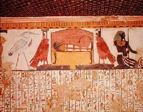 Mummy on a funeral bed with various divinites, from the Tomb of Nefertari, New kingdom