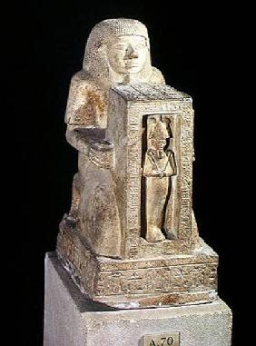 Naophorous statue of the royal scribe, Seti, with Osiris in the naos, New Kingdom c.1279-121
