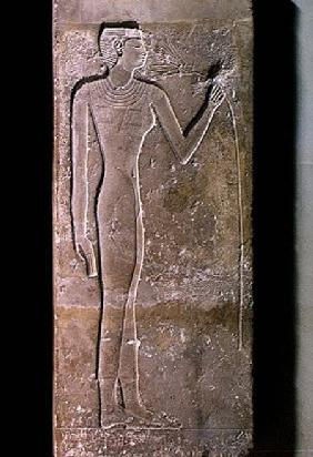 Pillar depicting a woman smelling a lotus flower, Old Kingdom 2423-2263