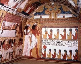 Sennedjem and his wife facing a naos containing twelve divinities, from the west wall of the Tomb of