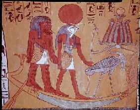 Solar barque with Re-Horakhty, the benu bird and four other deities, from the Tomb of Sennedjem, The