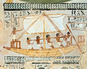 Boatmen on the Nile, from the Tomb of Sennefer, New Kingdom