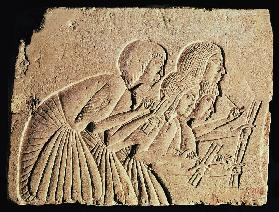 Tablet depicting four scribes at work, New Kingdom c.1400 BC