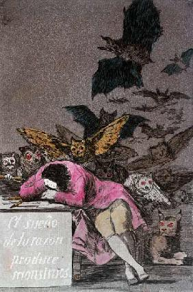 The Sleep of Reason Produces Monsters, plate 43 of 'Los Caprichos', published c.1810 (colour engravi 19th