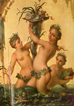 Detail of sirens holding a cornucopia from the State Carriage of Peter the Great c.1724