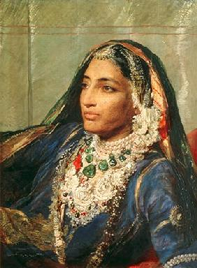 Portrait of Rani Jindan Singh, In An Indian Sari