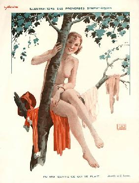 En mai quitte ce qui te plait, illustration from ''Le Sourire'', 1920s (colour litho)