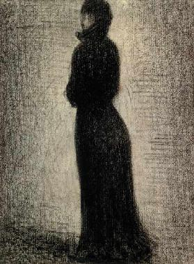Seurat / Woman in black / Chalk Drawing