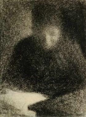 Seurat / Woman reading / Chalk Drawing