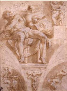 The Prophet Jonah and Two Destroyed Lunettes (design for the Sistine Chapel)
