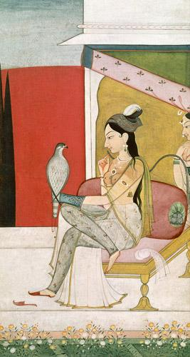Lady with a Hawk, Pahari Style, Punjab Hills c.1750 int