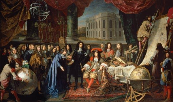 Jean-Baptiste Colbert (1619-1683) Presenting the Members of the Royal Academy of Science to Louis XI Presenting
