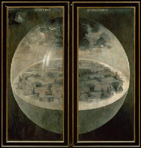 The Creation of the World, closed doors of the triptych 'The Garden of Earthly Delights' c.1500