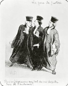 A Dispute Outside the Courtroom from the series 'Les Gens de Justice'  c.1846