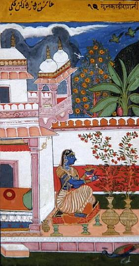 A lady picking flowers from a pot, Bundi, Rajasthan, Rajput School, c.1680,