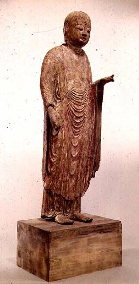 Carved wooden statue of Jizo (Japanese god) of the Heian period 11th centu