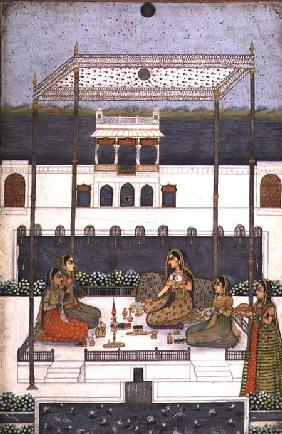 Evening party in the garden of a Mughal Palace, Lucknow or Murshidabad, West Bengal 1760