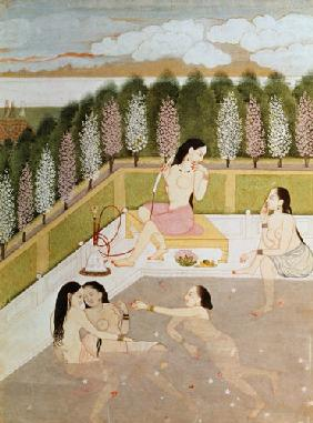 Girls Bathing, Pahari Style, Kangra School, Himachel Pradesh 18th centu