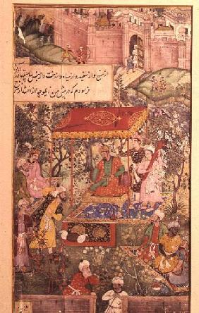 The Mogul Emperor Basar receives the envoys Uzbeg and Rauput in the garden at Agra on 18th December
