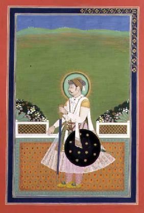 A Prince standing on a Terrace, Indian Mughal 19th centu