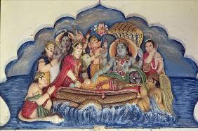 Vishnu Narayana, floating on Sheshanaga (painted relief)
