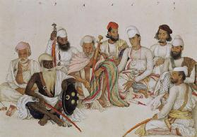 Nine courtiers and servants of the Raja Patiala, c.1817 (pencil & gouache on paper) 1817