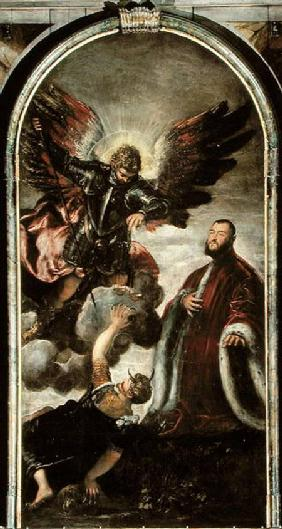 Archangel Michael vanqishing Lucifer in the presence of a Venetian senator