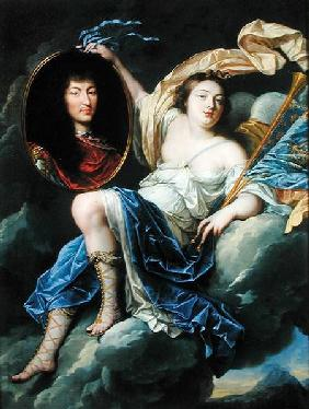 Fame Presenting a Portrait of Louis XIV (1638-1715) to France