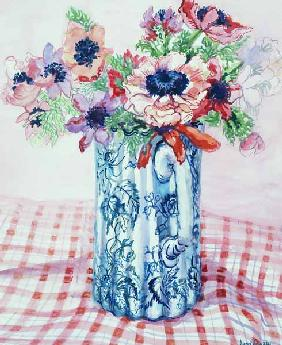 Anemones in a Victorian Flowered Jug (w/c)