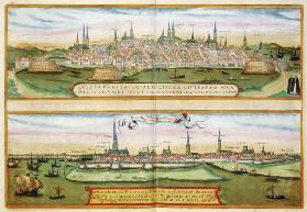 Map of Lubeck and Hamburg, from 'Civitates Orbis Terrarum' by Georg Braun (1541-1622) and Frans Hoge 17th