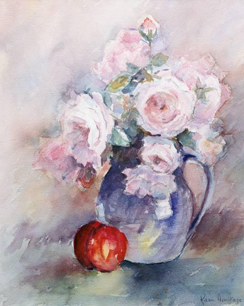 Pink Roses in a Blue Jug, 1994 (w/c)